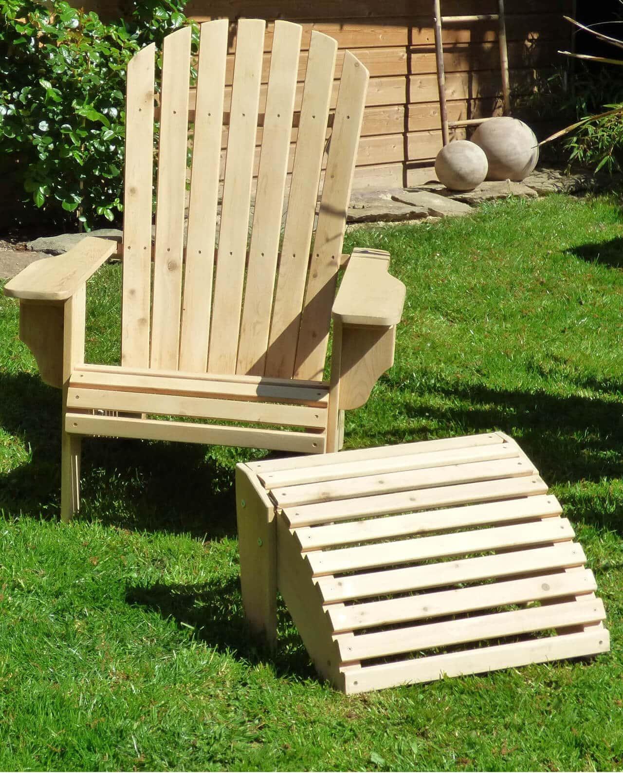 Salon De Jardin Americain fauteuil adirondack deluxe en bois