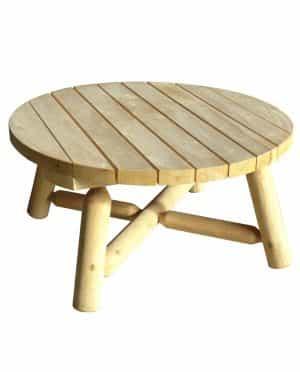 Table de Jardin Parasol Ronde en bois - Cèdre & Rondins