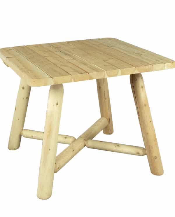 table carrée en bois de cèdre blanc