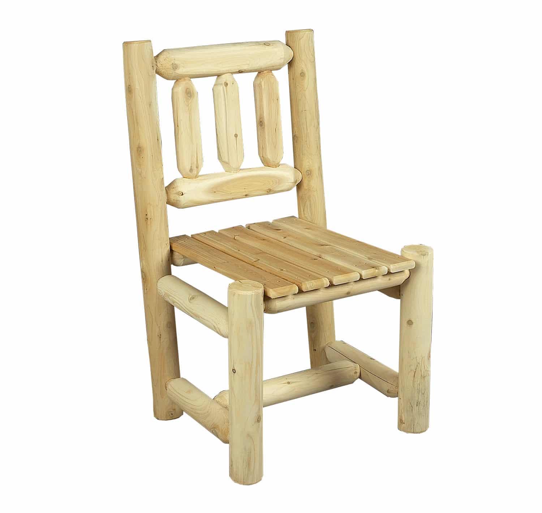 Chaise en bois rondins de c dre blanc c dre rondins for Chaise en bois blanc
