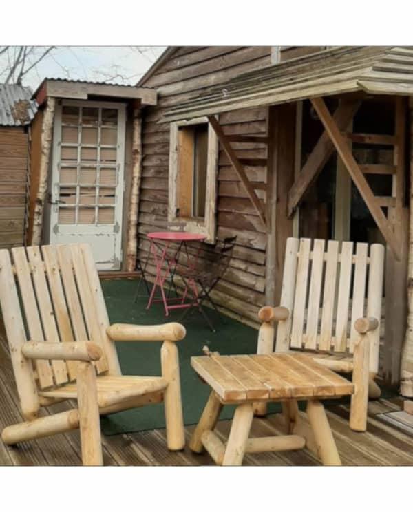 fauteuil rondins bois cedre