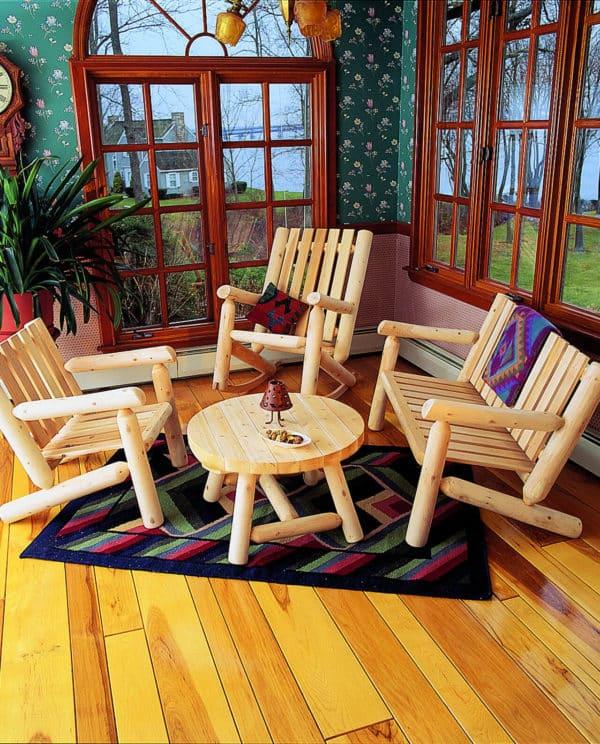fauteuil en bois rondins B4KD