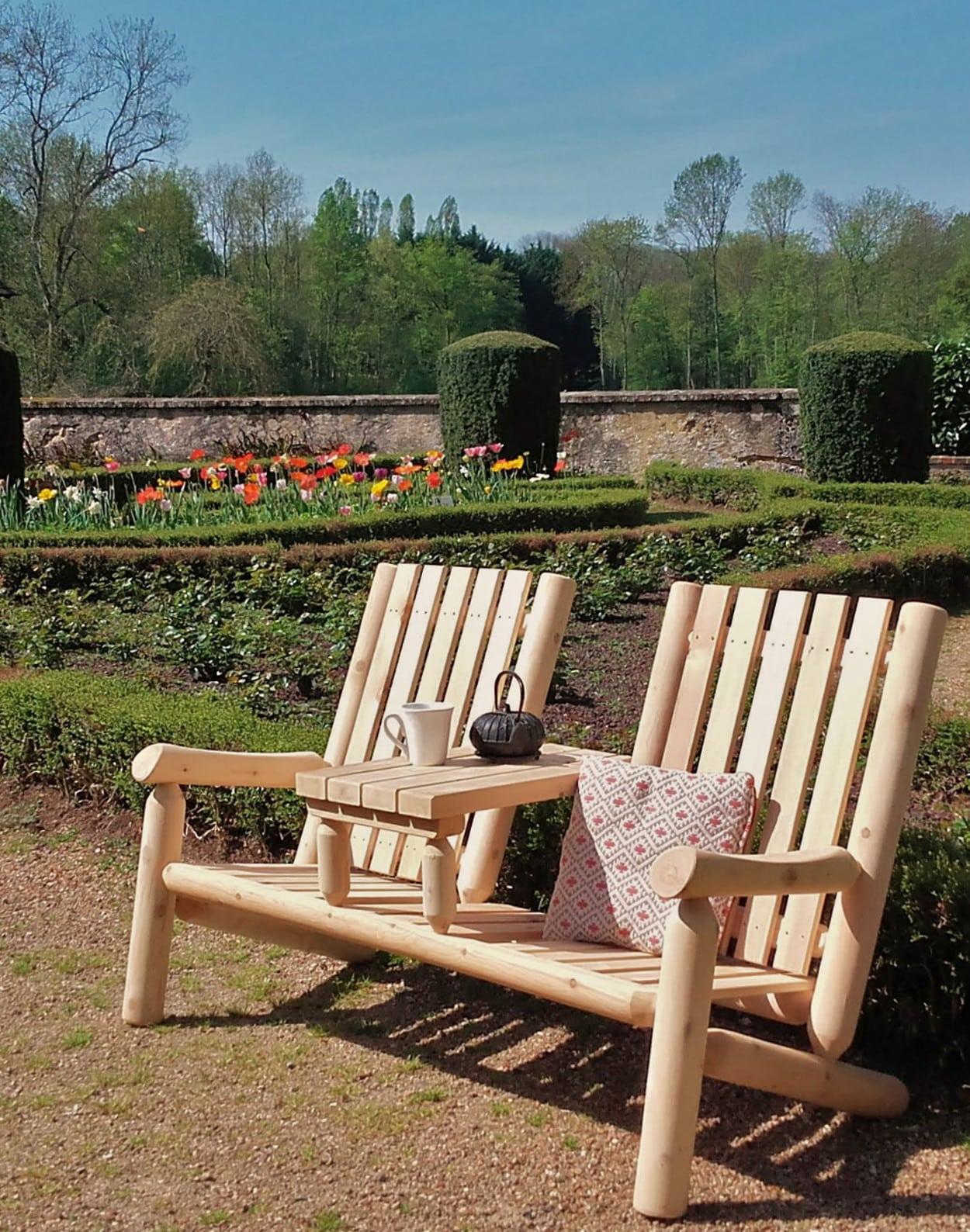 fauteuil 2 places en bois t te t te c dre rondins. Black Bedroom Furniture Sets. Home Design Ideas