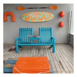 B7TTKD fauteuil bois double bleu turquoise