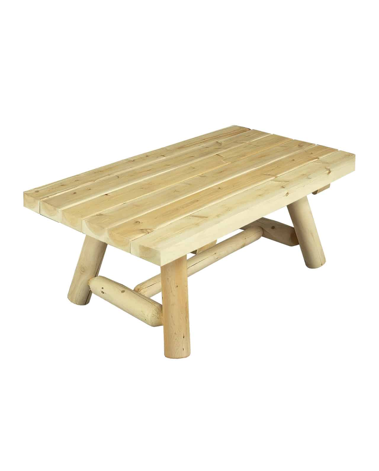 Table de Salon Rectangulaire en Bois de C u00e8dre blanc C u00e8dre et Rondins # Table Rectangulaire Bois