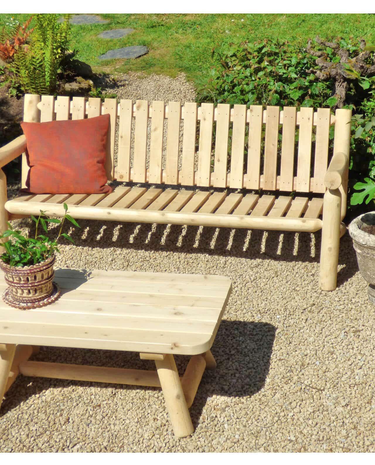 canap de jardin en rondins de c dre blanc c dre et rondins. Black Bedroom Furniture Sets. Home Design Ideas