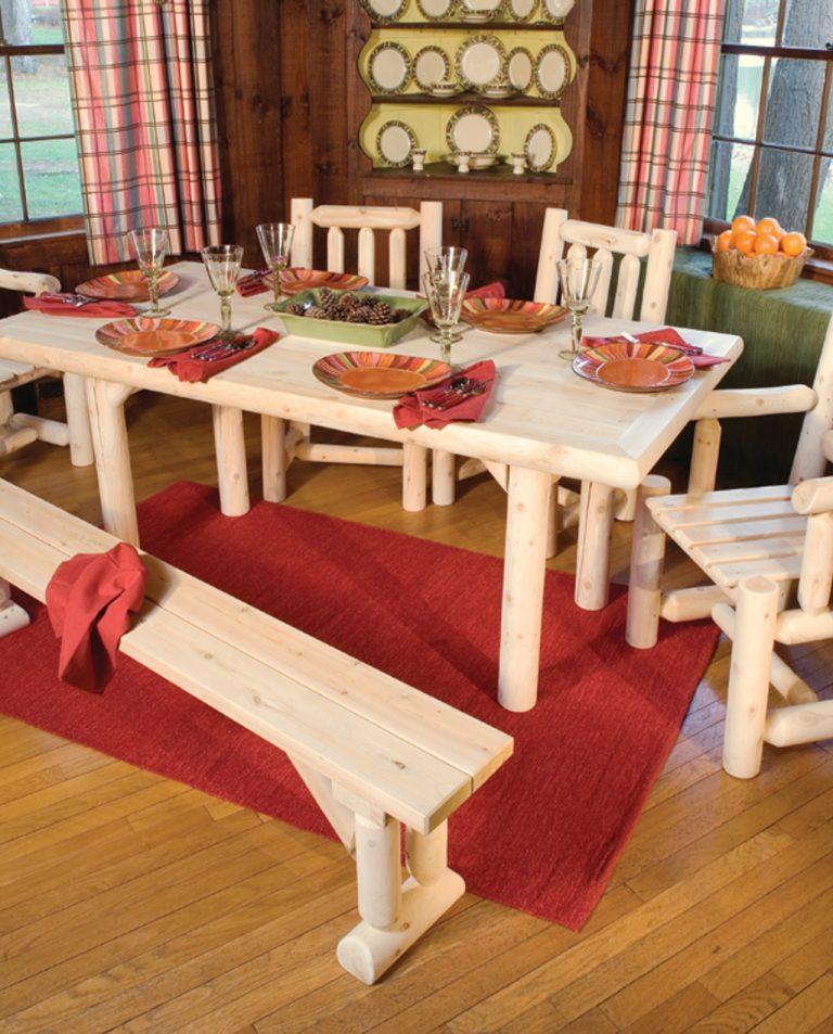 Table Salle A Manger Rectangulaire En Cedre Blanc Cedre Rondins