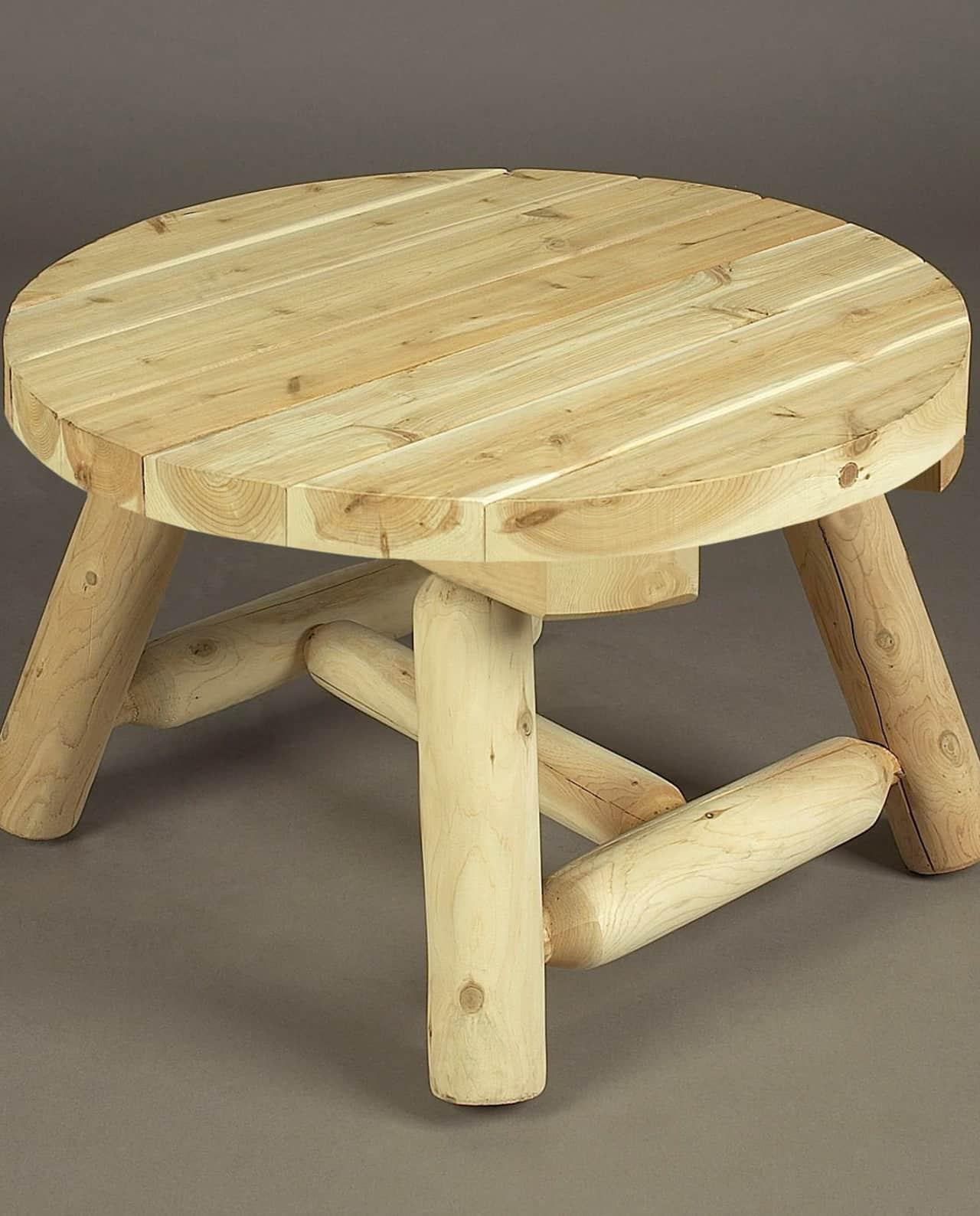 table basse en bois ronde petit mod le c dre et rondins. Black Bedroom Furniture Sets. Home Design Ideas