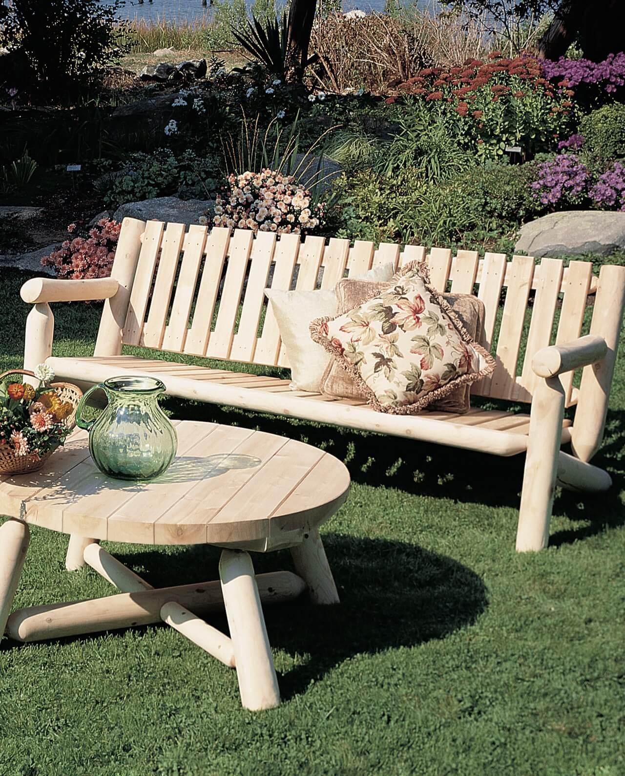Ensemble de jardin canapé banc bois table d'extérieur ronde Cèdre & Rondins