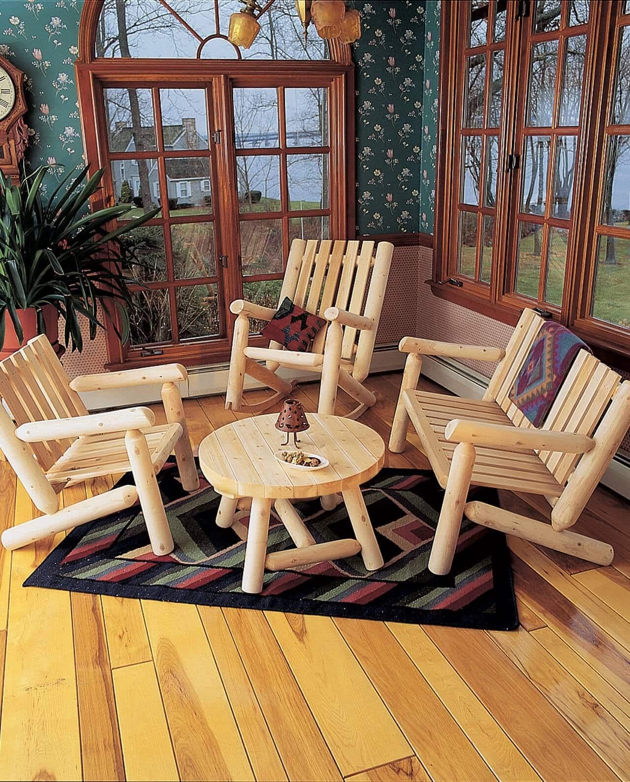 fauteuil rondins dossier bas c dre et rondins. Black Bedroom Furniture Sets. Home Design Ideas