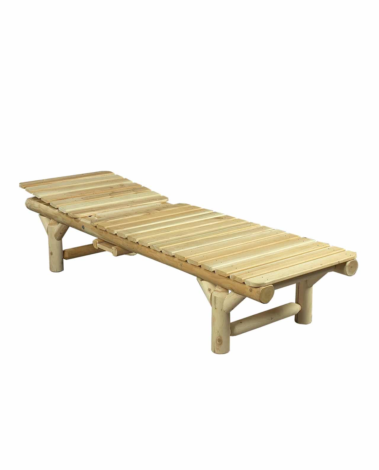 Bain de soleil en bois de c dre blanc c dre rondins - Chaise longue en bois ...