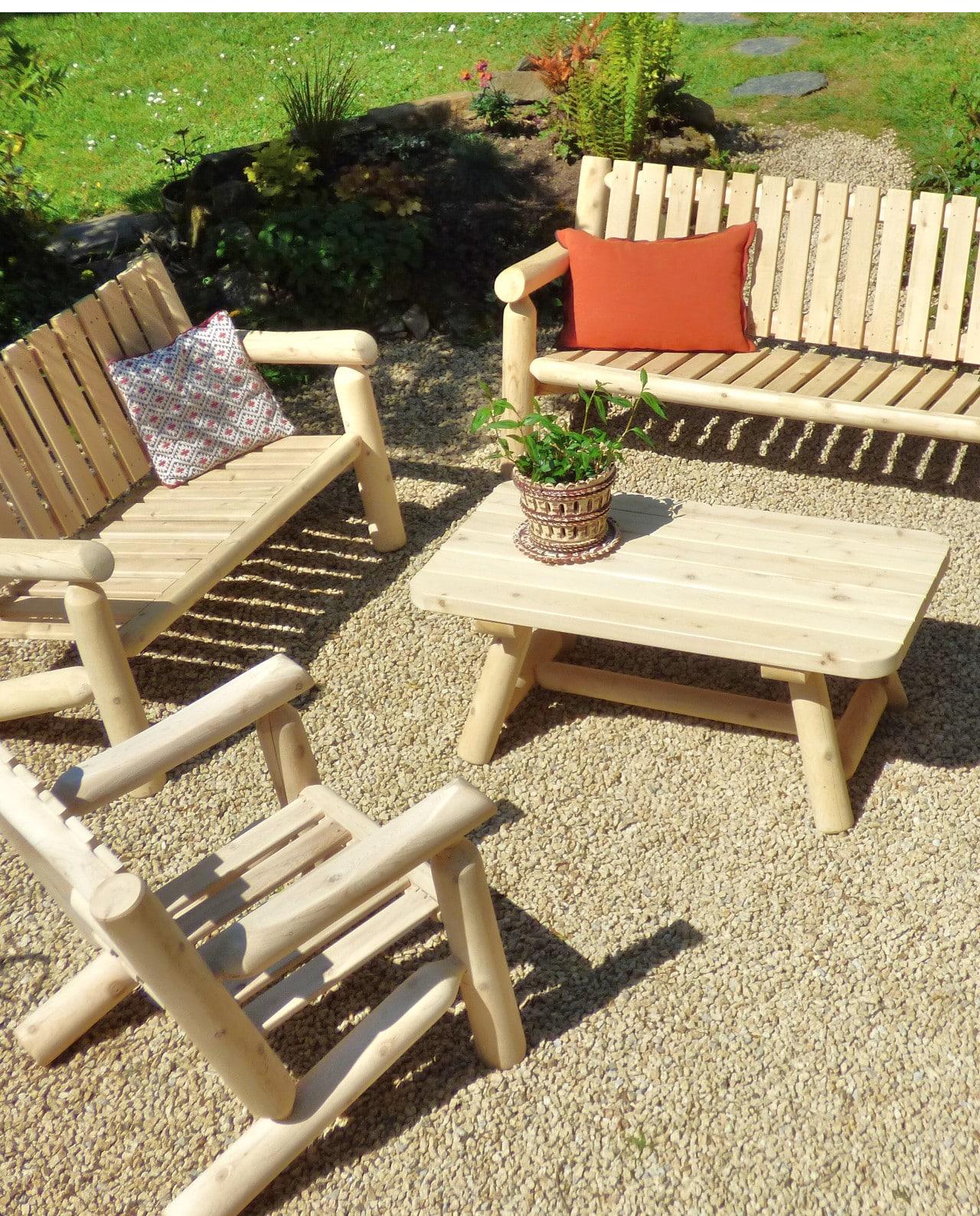 Salon de jardin en bois – Fauteuil et Canapé – N°5