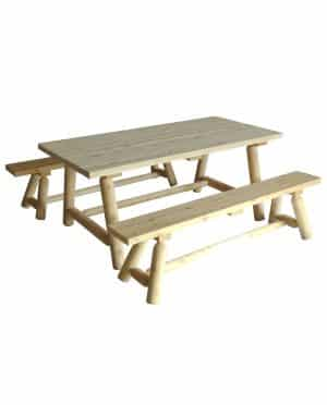 Wooden Rectangular Dining Table and Benches Set