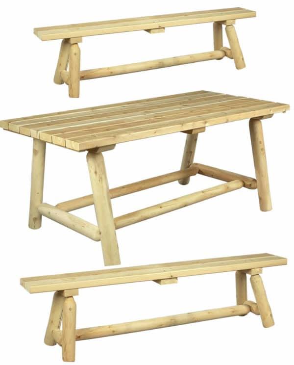 table repas bois rectangulaireet banc R1S