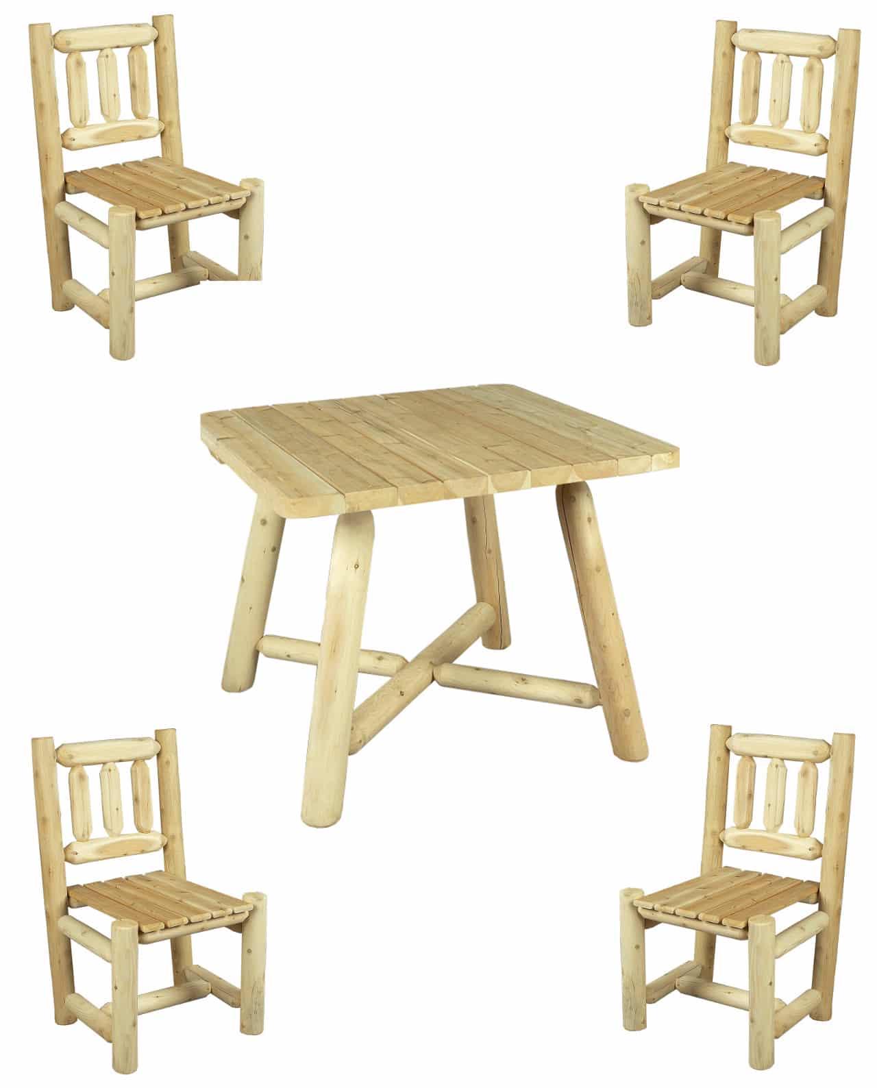 table et chaise en bois ensemble repas n 4s c dre rondins. Black Bedroom Furniture Sets. Home Design Ideas