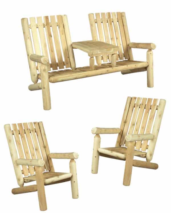 salon de jardin en bois - fauteuil 2 places - S3