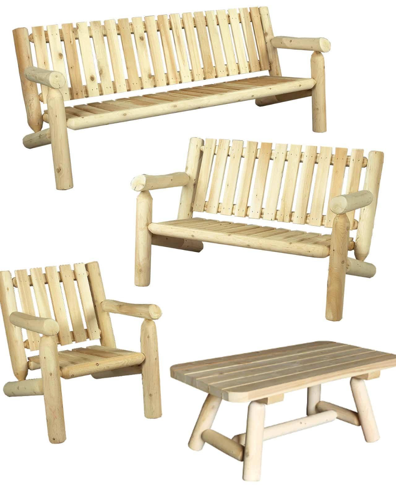 salon de jardin en bois fauteuil et canap n 5 c dre rondins. Black Bedroom Furniture Sets. Home Design Ideas