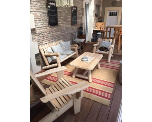 salon fauteuil et table bois