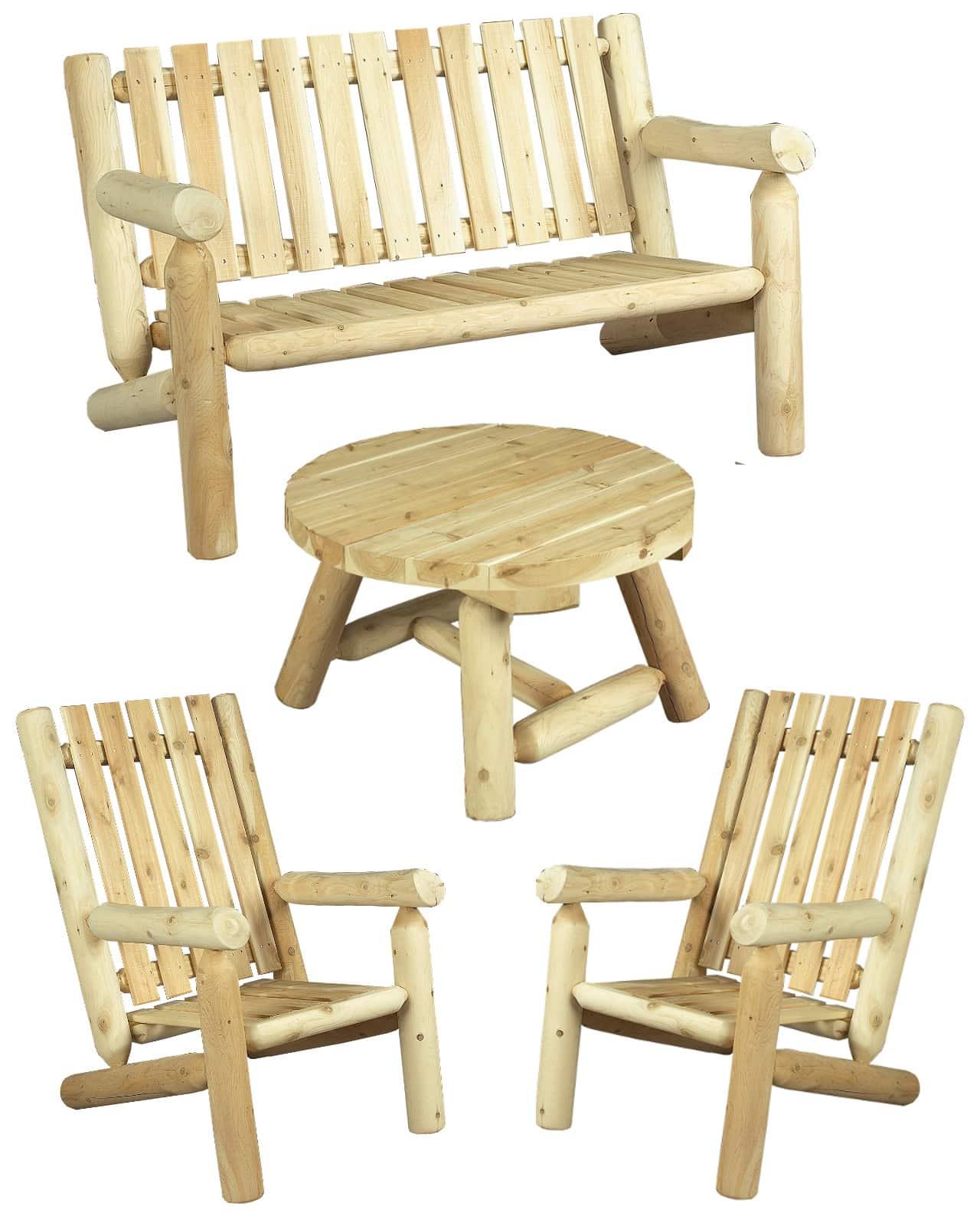 mobilier de salon en bois - fauteuil et canapé - S1H