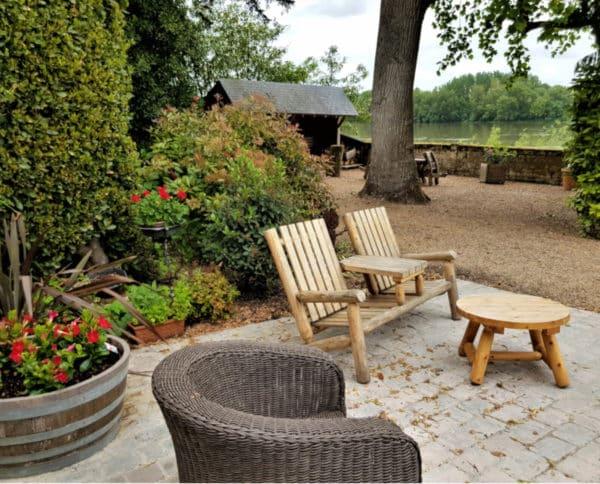 fauteuil 2 places bois table basse bois