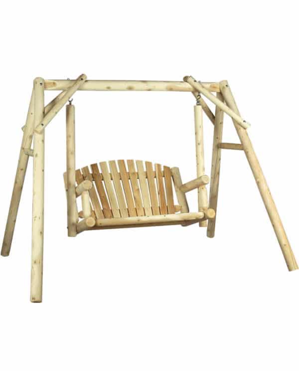 balancelle en bois avec portique