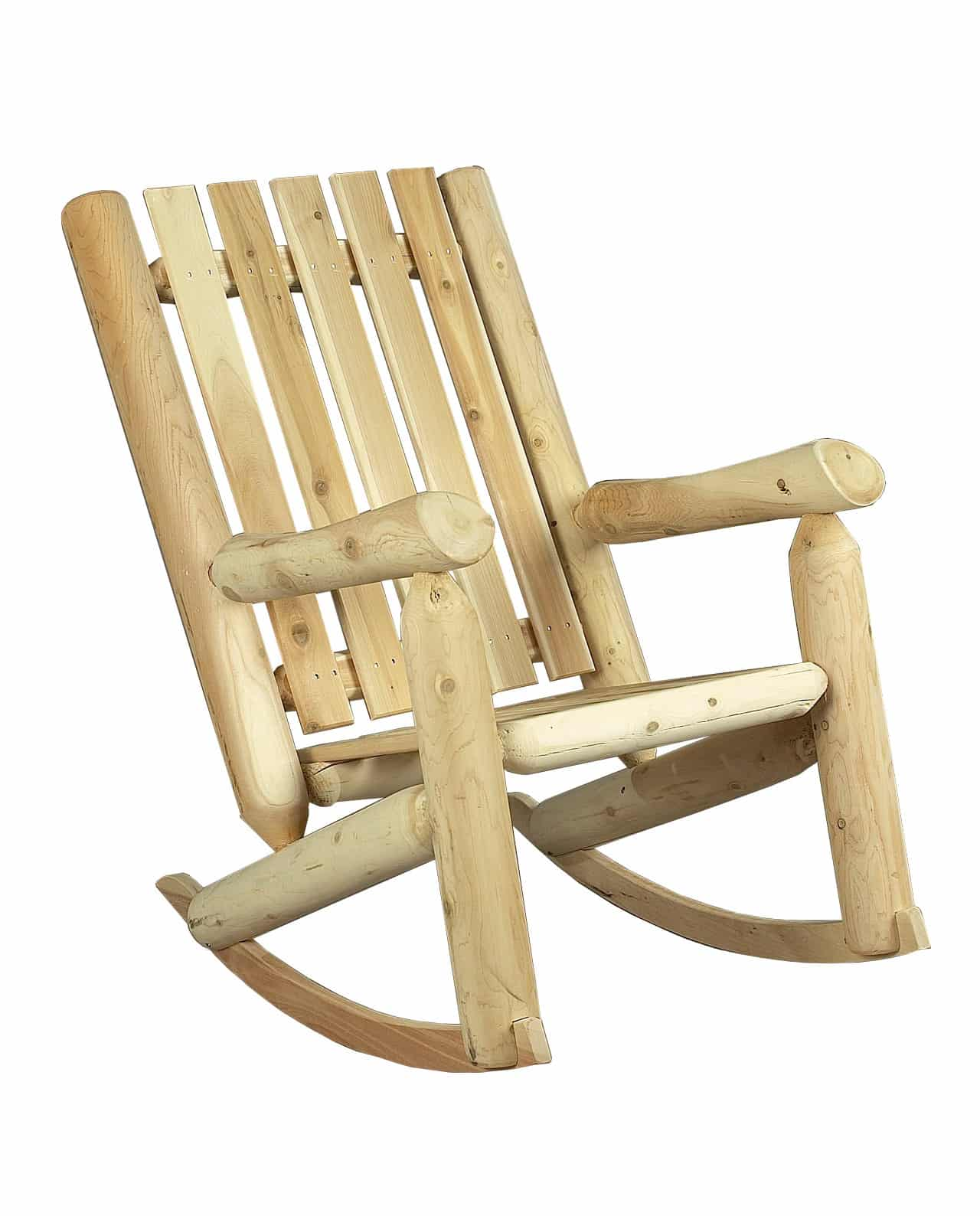 Rocking chair en bois dossier haut c dre rondins - Rocking chair confortable ...