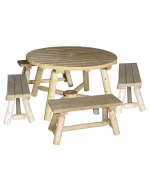 Round wooden garden table with benches