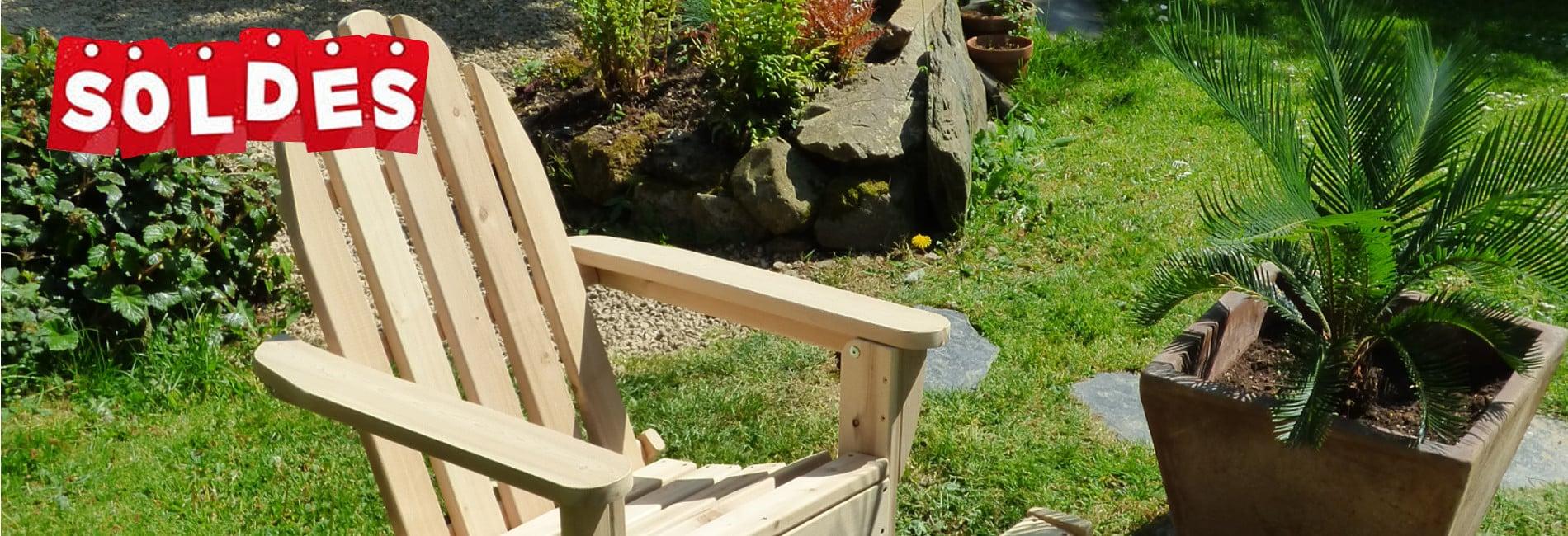 soldes mobilier de jardin en bois c dre et rondins. Black Bedroom Furniture Sets. Home Design Ideas