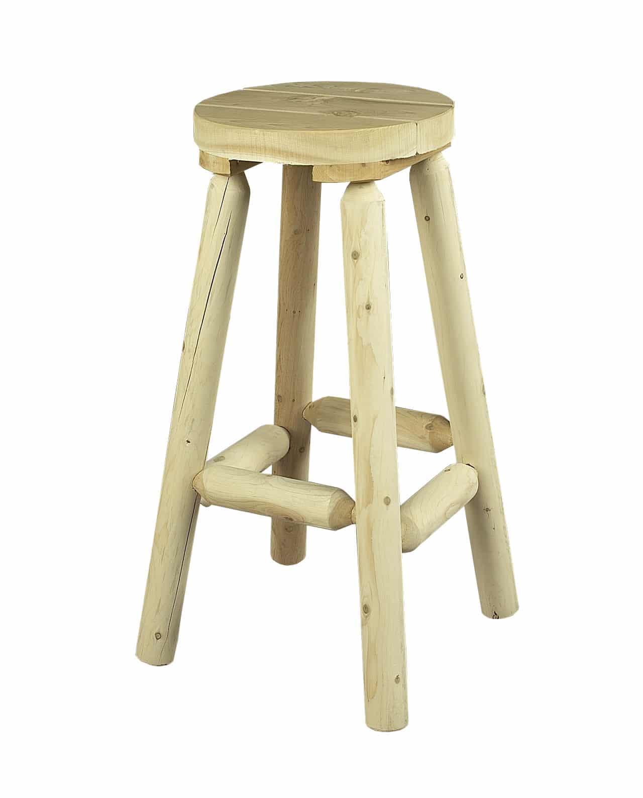 tabouret haut en bois de c dre blanc c dre rondins