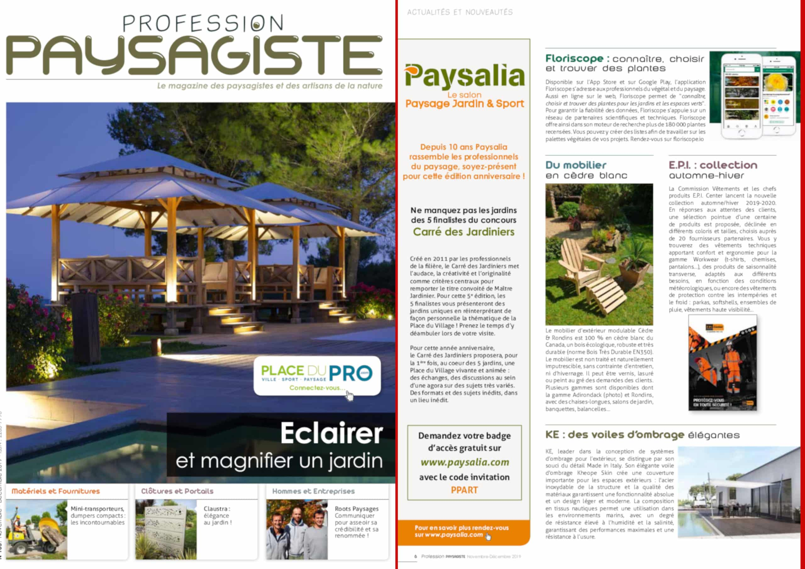 MAGAZINE PROFESSION PAYSAGISTE – Novembre 2019