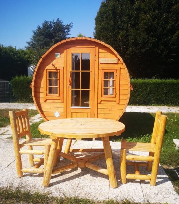 table de jardin ronde en bois B13A