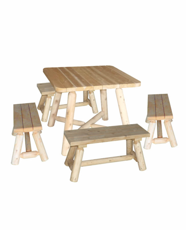 table carree avec banc en bois R2S
