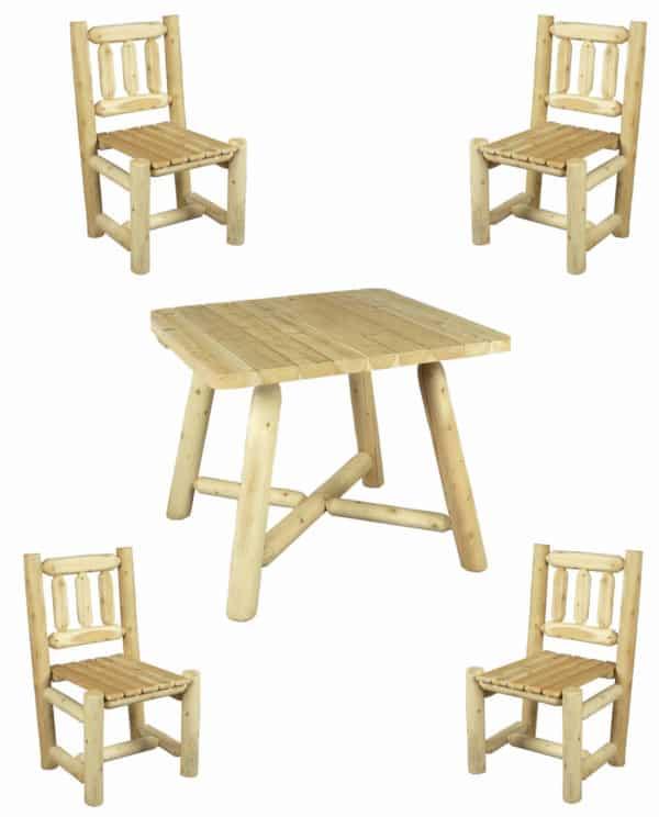 table repas carree chaises bois R4S