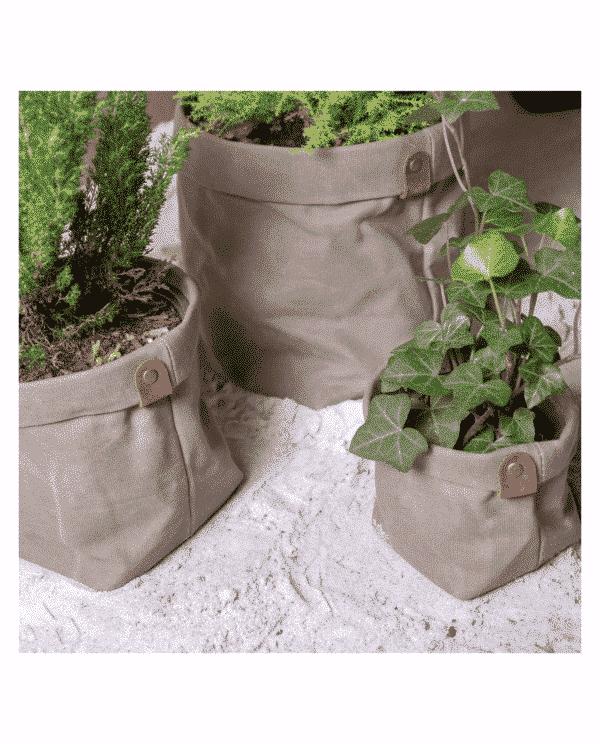 cache pot toile beige plantb