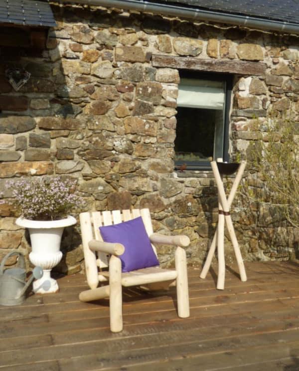 fauteuil jardin rondins bois B4KD