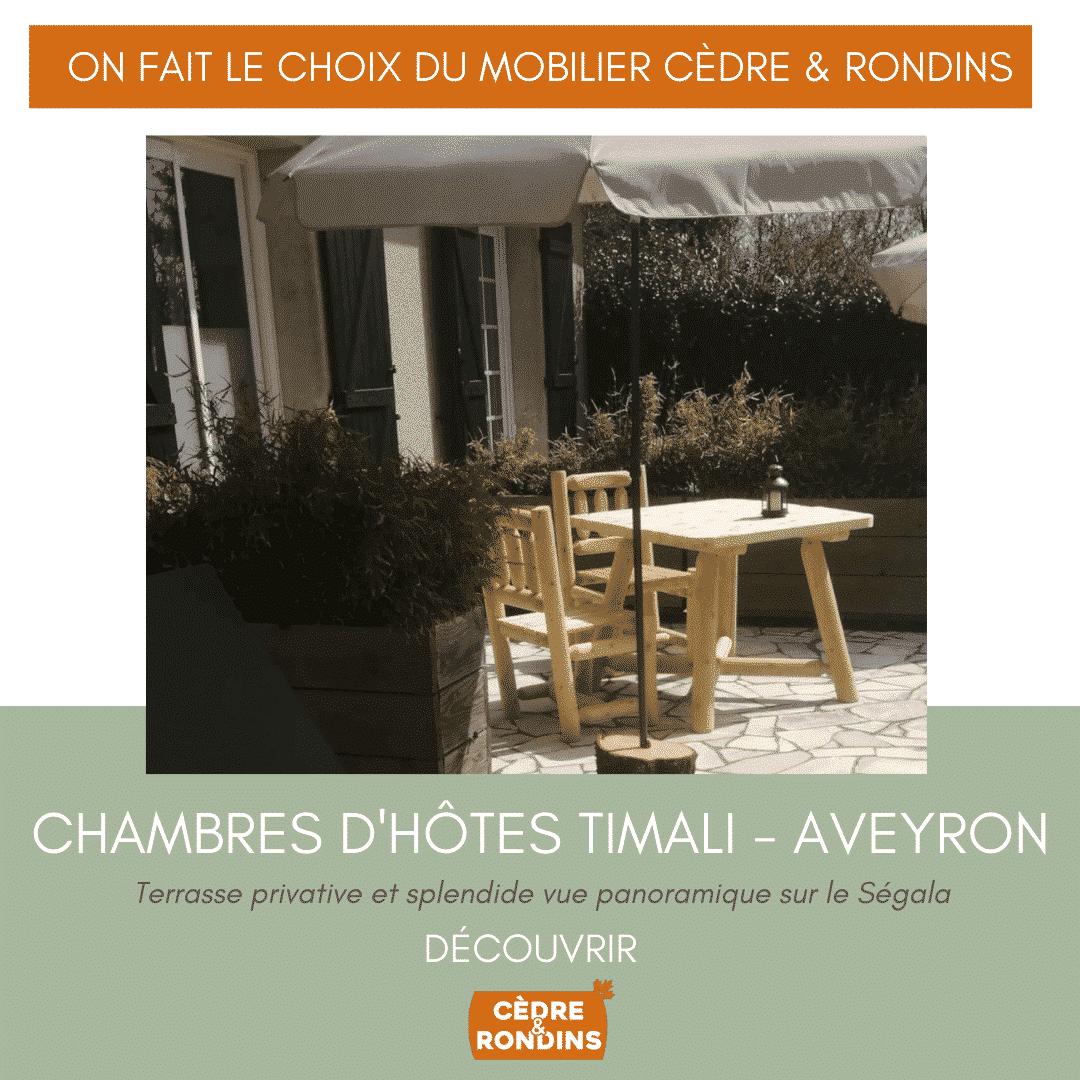 Chambres d'hôtes Timali dans l'Aveyron